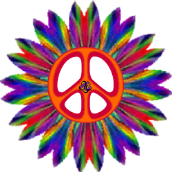 peace sign center, outer flower blue red gradient