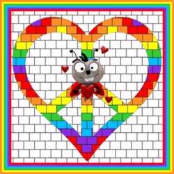 heart shaped peace sign in rainbow colors with love bug