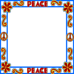 peace sign, flowers, doodles frame
