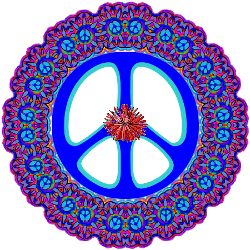 bright blue peace sign, red flower center