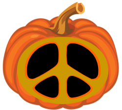 peace sign carved in pumpkin