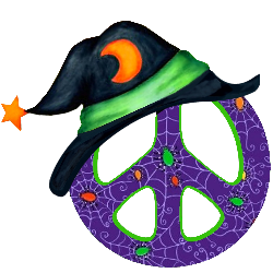 halloween pattern peace sign wearing witch's hat