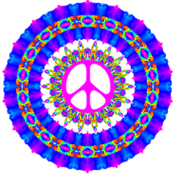 pink blue rainbow accent peace sign
