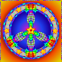 colorful, pattern peace sign with bright stars