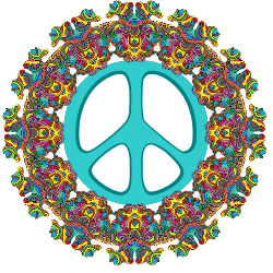 outer design holds peace sign center