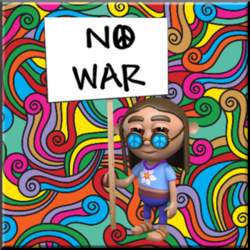 hippie protester with no war sign