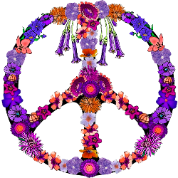 various purple, orange flowers peace sign
