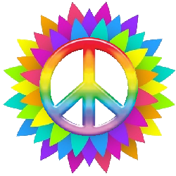 spiral rainbow flower petals surround center peace sign