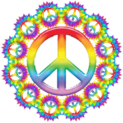 rainbow colors tiny peace signs surrounding center peace sign