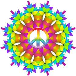a weave of rainbow colors peace sign