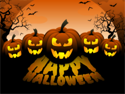scary pumpkins with happy halloween