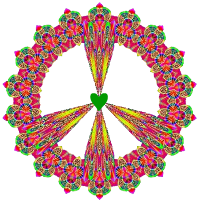 pink and green patterned peace sign with golden arms and heart center