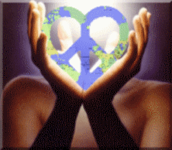 hands holding peace and love symbol with earth pattern, bright light shining through