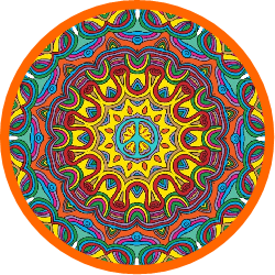 mandala layered in colors, peace sign center