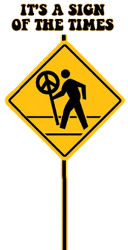 road sign with peace sign