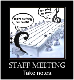 office staff meeting with music symbols