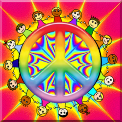 colorful star burst with peace sign, children holding hands