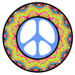 layers of color form pattern of star, peace sign center