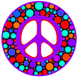 colorful dots peace sign
