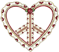 peace, love symbol made from heart trim ruffles