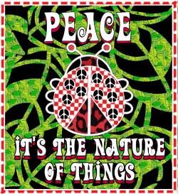 Frieden Marienkäfer auf grünen Hintergrund