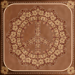 tooled leather peace sign design in frame