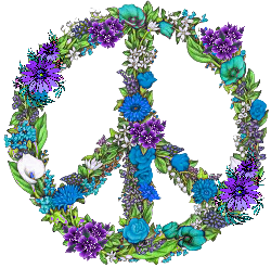 turquoise with accent purple flowers peace sign