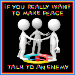 two figures shaking hands with peace quote