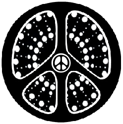 black peace sign with white center pattern