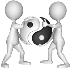 two figures holding ying yang symbol